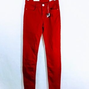Zara 4 Red Skinny Jeans New With Tags